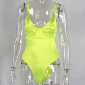 Sexy Neon Bodysuit Spaghetti Strap Fashion Body Top - Online Fashion Store -Shop Alluring