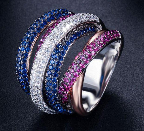 Luxury Sterling Silver Ruby Sapphire Gemstone Ring Fine Jewelry-Rings-Shop Alluring