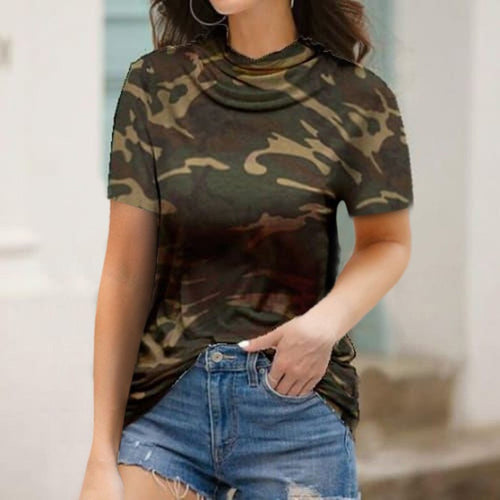 Plus Size Women's Casual T-shirt Camouflage Printed With Mask-tops-Shop Alluring