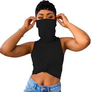 Sexy Stacked Turtle Neck Top with Mask-Tops-Shop Alluring