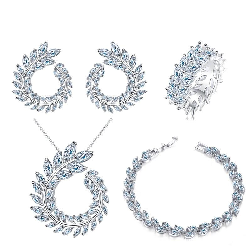 Sterling Silver Created Moissanite Gemstone Jewelry Set-Jewelry Sets-Shop Alluring