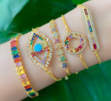 Load image into Gallery viewer, Gold Plated colorful zircon bracelet