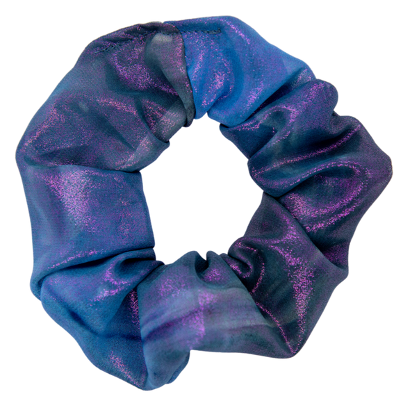 iridescent scrunchie purple shiny