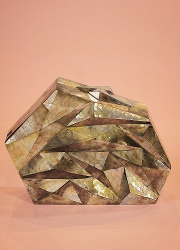 Geometric Mother of Pearl Clutch Bag in White