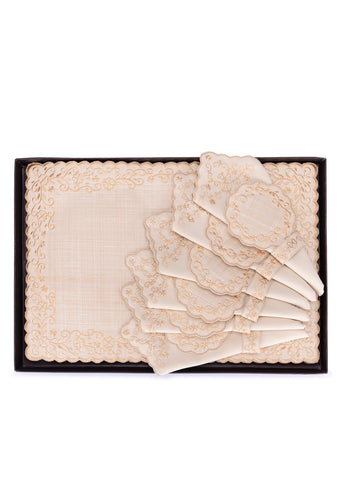 Embroidered Small Flowers with Beige Lining Placemats Set of 6 - Kultura Filipino