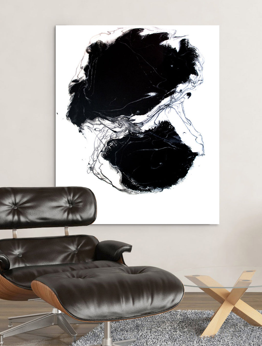 Deep Dark Secrets on Wall - Abstract Painting by Paige Ring