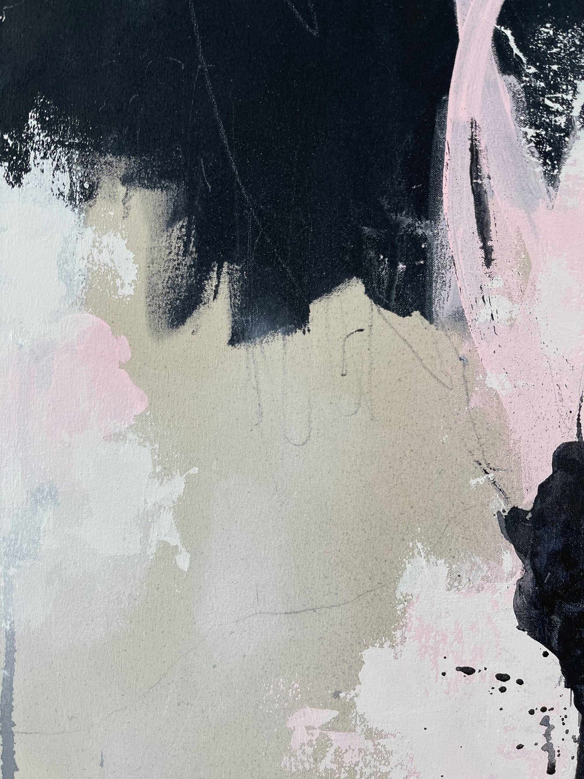 On The Sidelines - Detail Close Up 2 - Original Abstract Painting By Paige Ring