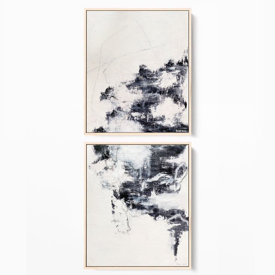 From Mountains To Sea - Hung as a diptych - Original Abstract Painting By Artist Paige Ring