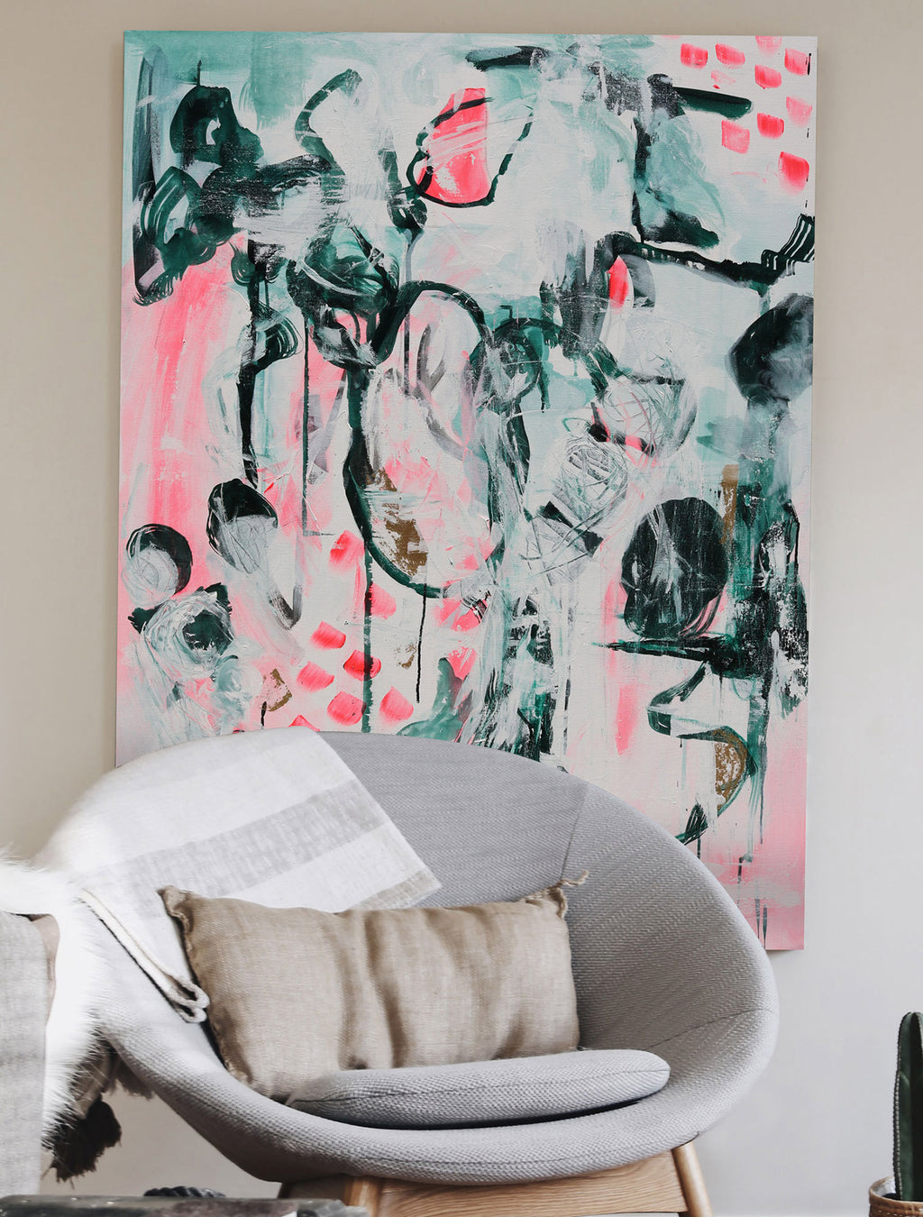 Summer's End - Abstract Painting on wall by Paige Ring