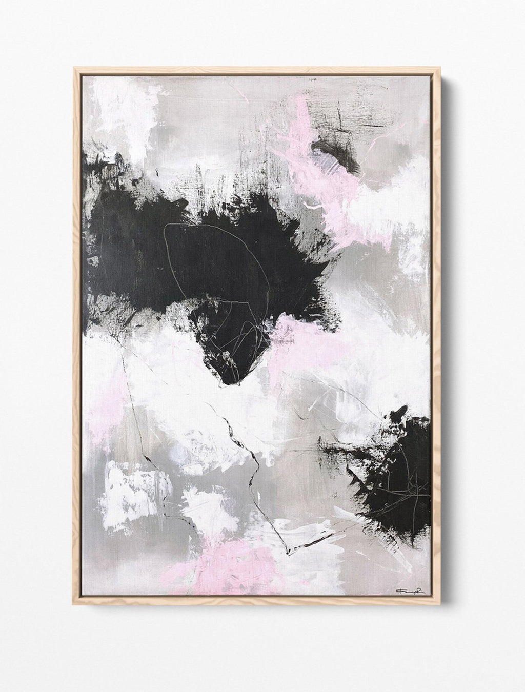 mornings with nowhere to be framed on wall - abstract painting by Paige Ring