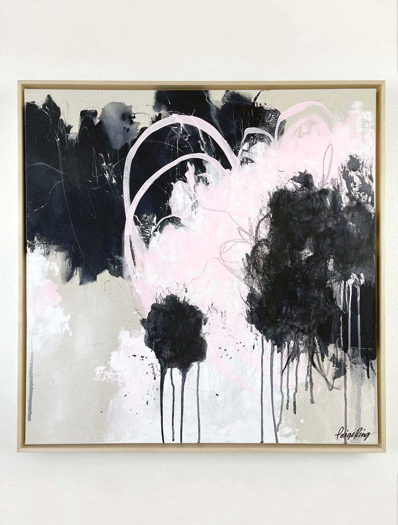On The Sidelines - Framed - Original Abstract Painting By Paige Ring