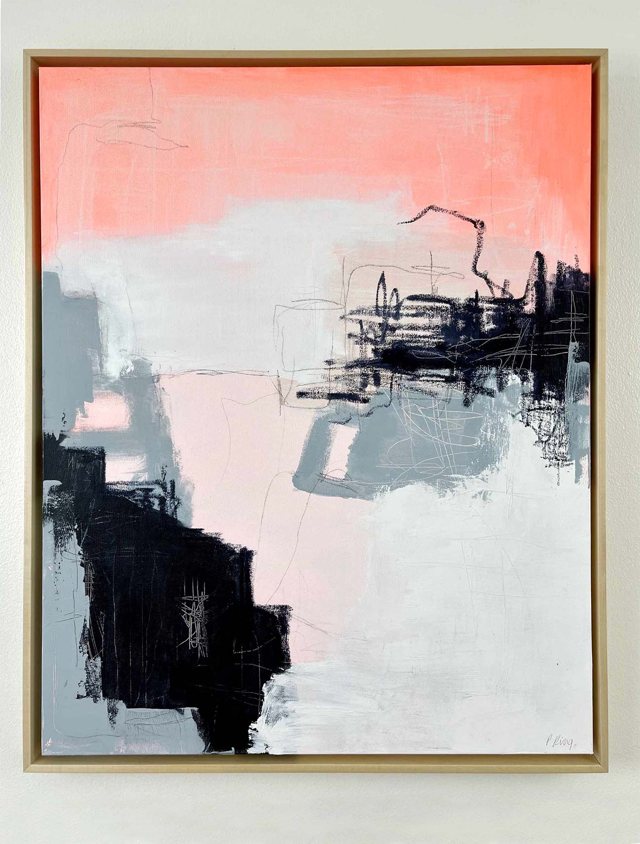 Rough Night Bright Morning - Framed on Wall- Original Abstract Painting By Artist Paige Ring