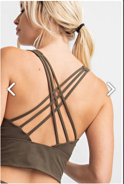 Meet me at the Barre Olive Sports Bra