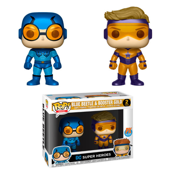 Set 2 figuras POP DC Blue Beetle & Booster Gold Metallic Exclusive