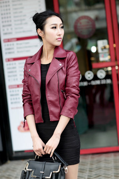 Women's jacket European and American style women's leather clothes Diagonal zipper motorcycle leather short autumn women's leather