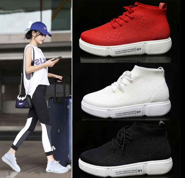 Thick-bottom street dance high-top sports shoes hip-hop socks shoes