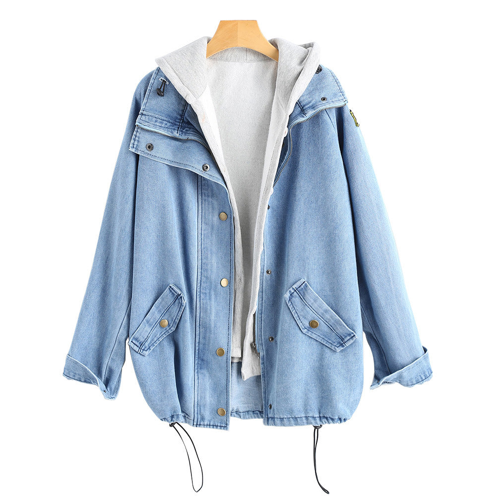 Two-piece denim hooded jacket
