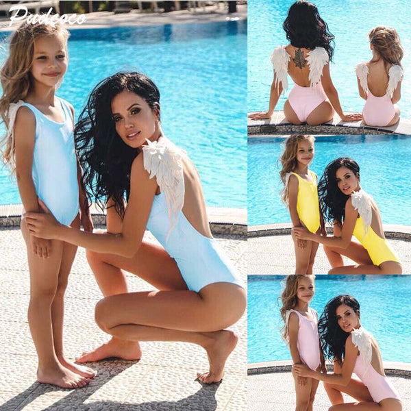 Family Matching Mother Swimsuit Mother Daughter Women Kid Baby Girl Feather One Piece Bikini Swimwear Bathing Suit Beach