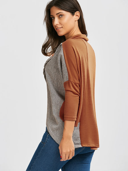 Paneled Batwing Sleeve Cowl Neck Top