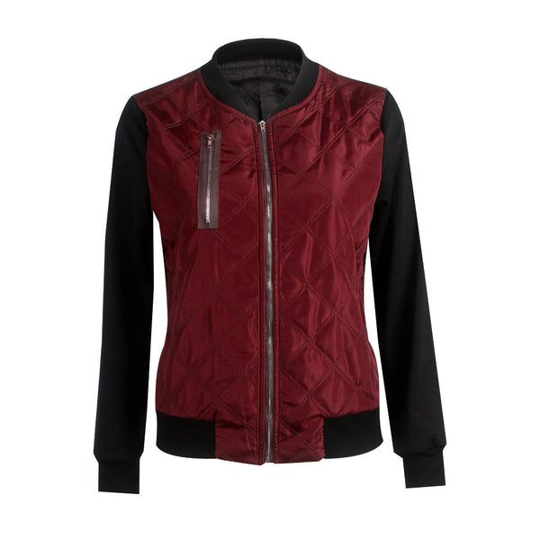Hot sale autumn and winter new solid color fashion zipped cotton jacket women jacket