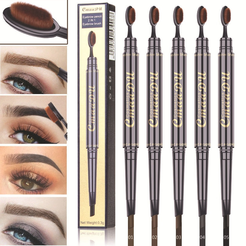 Double Eyebrow Pen with Brush Toothbrush Head Eyebrow Pencil Multifunctional Waterproof Long Lasting Makeup
