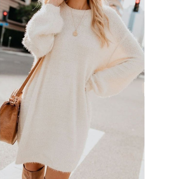 Plush Pullover Long Sweater Women Yellow Black Pink Christmas Sweater Dress Autumn Winter Jersey Jumper Robe Pull Femme