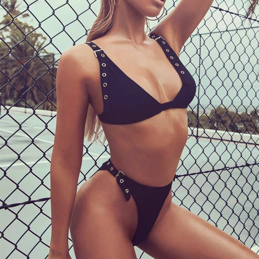 Strap Lace Buckle Bikini Swimsuit Women Padded Swimwear Sexy Plunge Neck Thong Bikini High Waist Biquini Monokini Bathing Suit