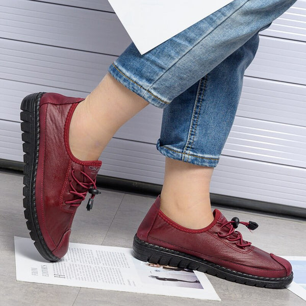 Women flat shoes woman PU leather lace up mom shoes
