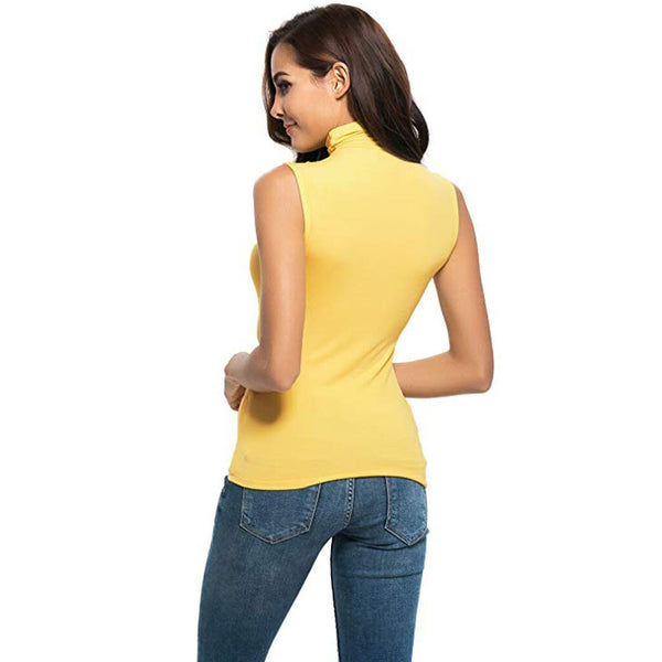 New Fashion Slim Blouse Women Sleeveless Tops Vest High Neck Female Casual Knitted Summer Vest Tops Hot Selling Shirts#J7