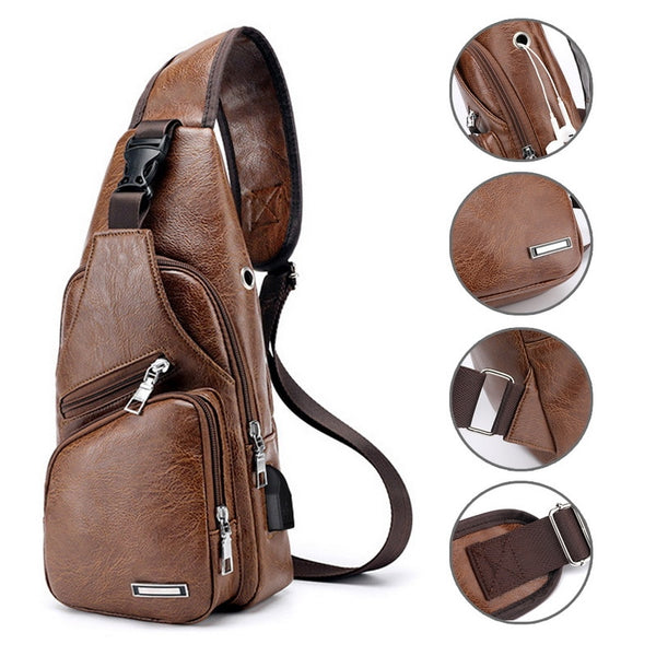 New Men's Chest Bag PU Leather Chest Pack USB Backpack with Headphone Slot
