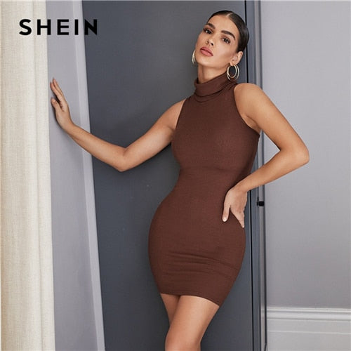 Turtle neck bodycon dress for women