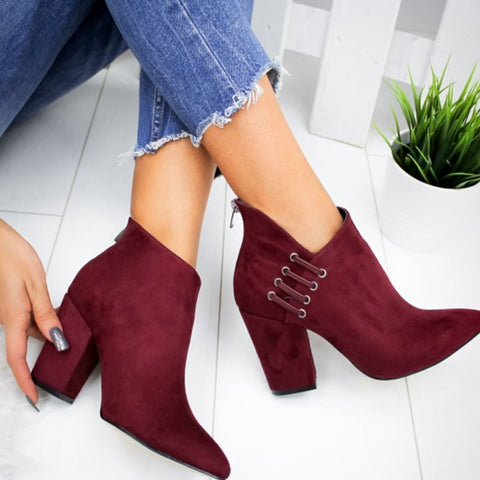 SHUJIN New Women Shoes Ankle Sexy  Boots Short Boots High-heel Fashion Pointed Europe Shoes Woman Plus Size 35-43