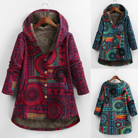 Women Winter Floral Printed Coat Vintage Harajuku Plus Size Loose Casual Jackets Plus Velvet Thick Warm Hooded Fashion Coat