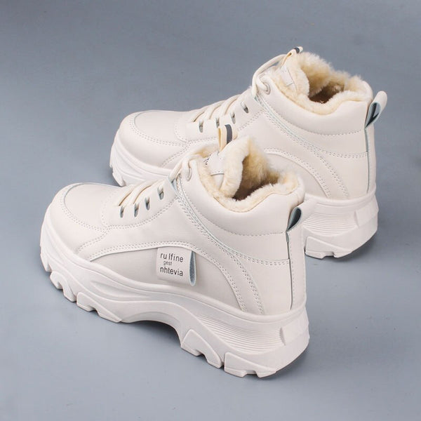 Women's casual sneakers; winter sneakers with plush fur; warm women's shoes; women's shoes with lacing; women's shoes on