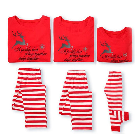 Family Christmas Holiday Pajamas Deer Printing T-shirt+ Striped Printed Trousers Set Family Matching Clothes Family Sleepwear