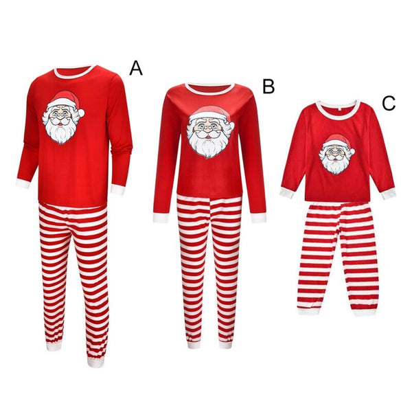 Family Christmas Set Holiday Home Pajamas Santa Claus Printing T-shirt+ Striped Printed Trousers Set Family Matching Outfits