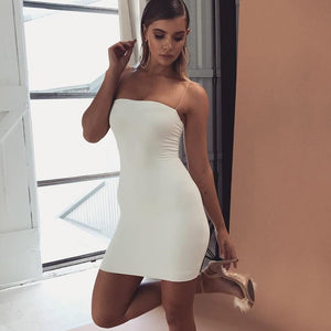 Robe Women Backless Stretch Mini Dress Tight Sleeveless Strapless