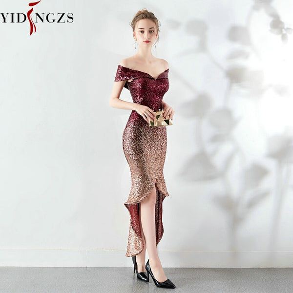 YIDINGZS Elegant Women Sequins Short Evening Dress