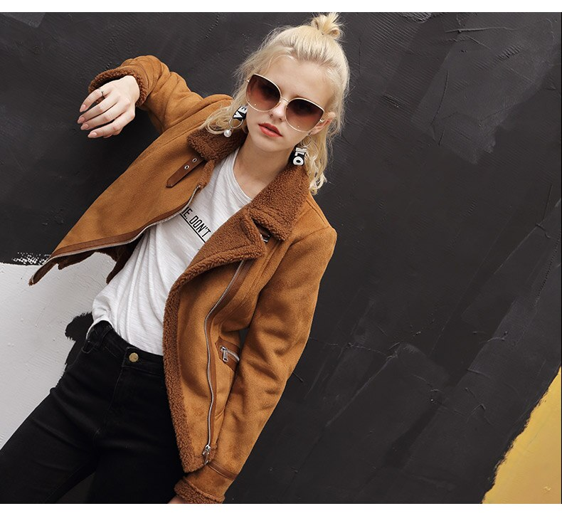 Women faux sheepskin coat warm winter coat