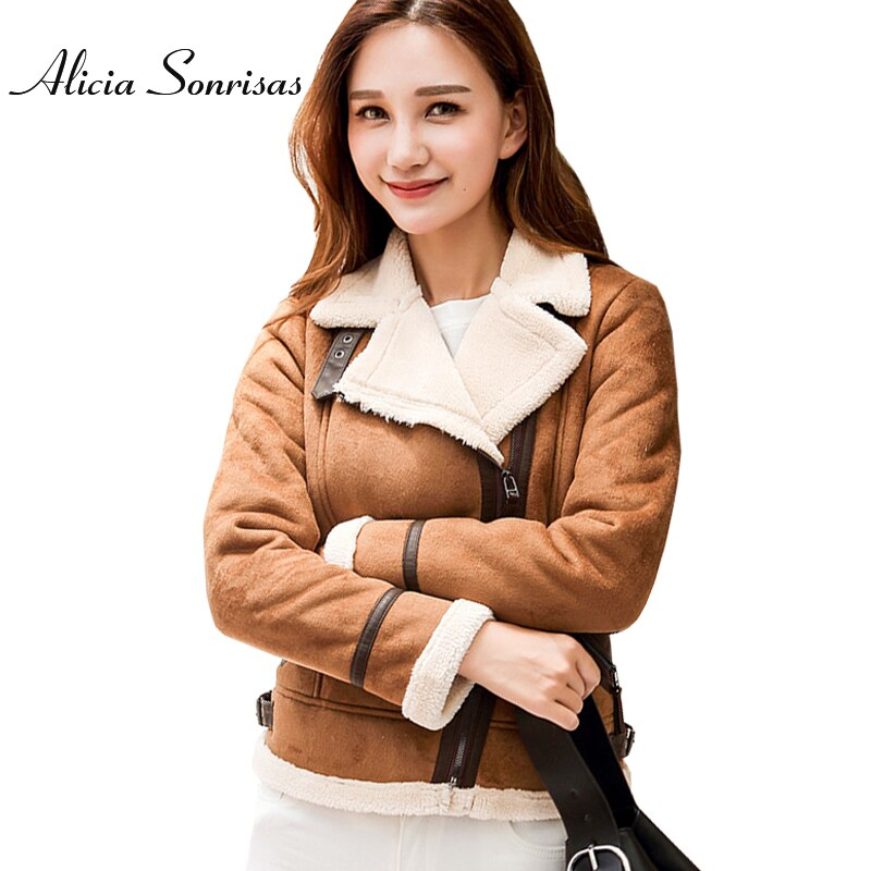 Women Faux Sheepskin Shearling Coat New Warm Suede Jacket Motorcycle Lamb Fur Coats Brown Leather Jacket AS30100