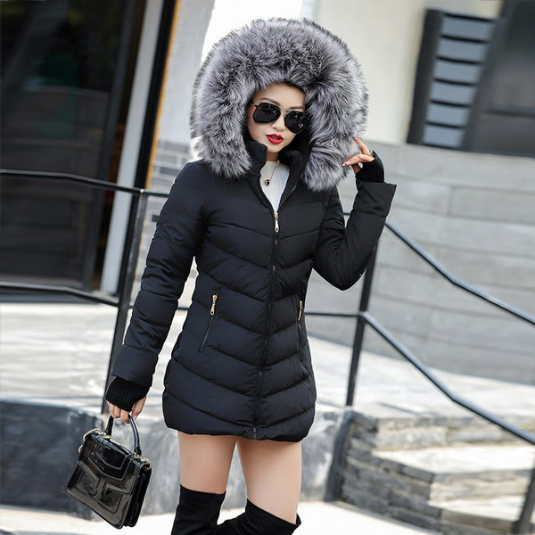 Winter jacket with a synthetic raccoon fur collar
