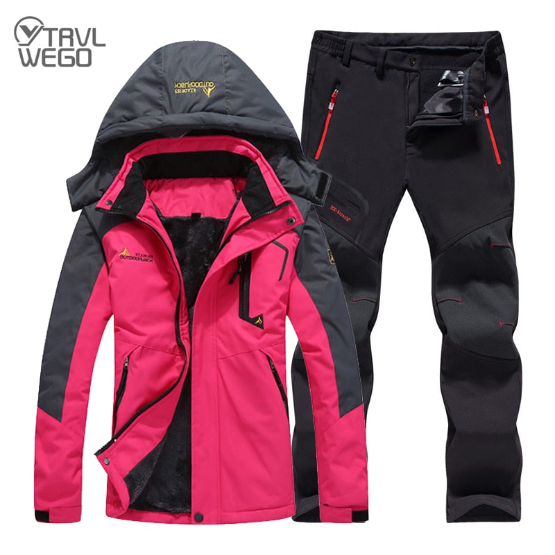 TRVLWEGO Winter Ski Suit Women Windproof Waterproof Snowboard Jacket Pants Outdoor Super Warm 2 in 1 Thermal Fleece Snow Coat