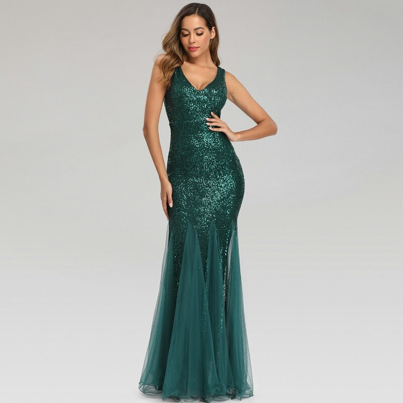 Green mermaid sleeveless evening dress