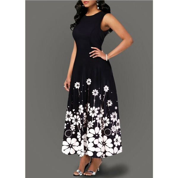 Women's dress - long, floral pattern, with a modern design