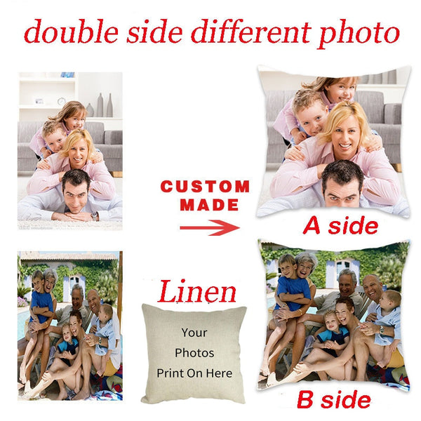 Customize Pillow Cover Life Photo Printed Cushion Cover Sofa Throw Pillowcase for Home Bed Decorative Pillow