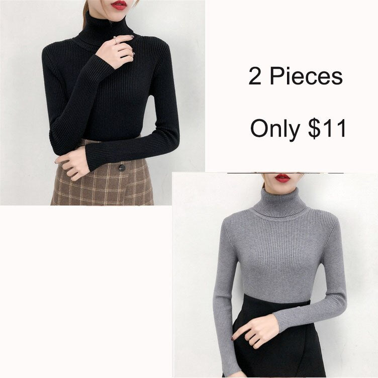 Women's Sweaters Long Sleeve Tight Shirt Girls Sweater