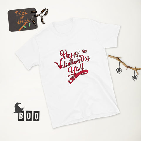 In Valentine's Day t-shirt