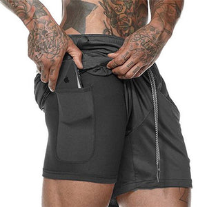2020 NEW Men's Running Shorts Mens 2 in 1 Sports Shorts Male