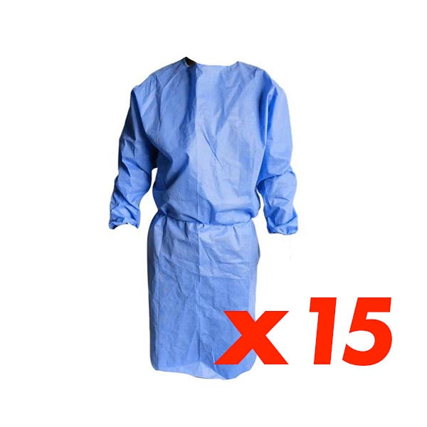 Set of 15 Disposable Isolation Gowns