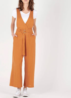 Cotton-mix cross over V-neck jumpsuit